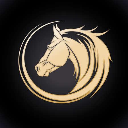 cabeza: Plantilla caballo de oro. Vectores