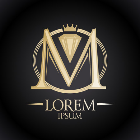 Elegant gold letter M with diamond and crown.