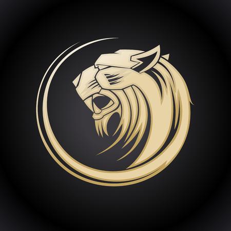silueta tigre: Plantilla de la cabeza del tigre de oro.