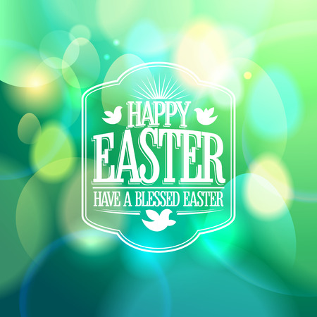 pasch: Easter calligraphic design on a green bokeh lights background. Illustration