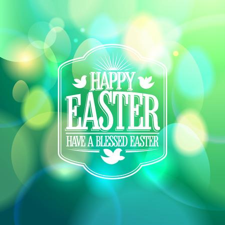Easter calligraphic design on a green bokeh lights background. Illustration