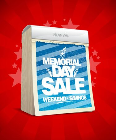 the day off: Memorial day sale design in form of tear-off calendar. Illustration