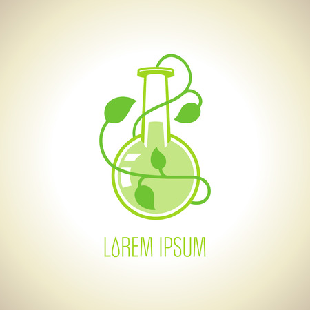 Green flask with plant, eco logo template. Иллюстрация