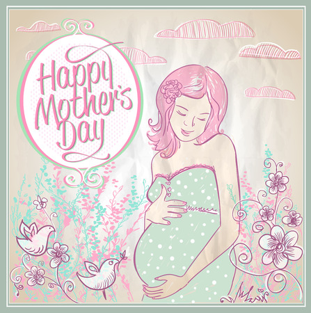 feast day: Mothers Day card with beautiful smiling pregnant woman outdoor, vector illustration. Illustration