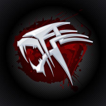 Stahl Tigerkopf gegen Tropfen Blut Kunst-Logo-Vorlage. Illustration