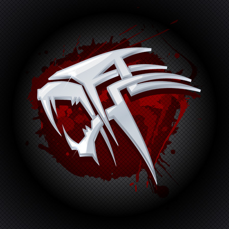 tiger: Steel tiger head against drop of blood art logo template.