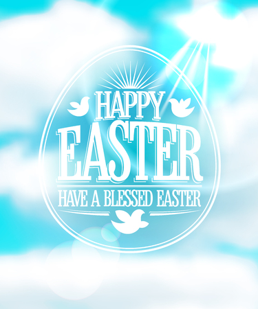bless: Happy Easter calligraphic design against blue sky with clouds backdrop.