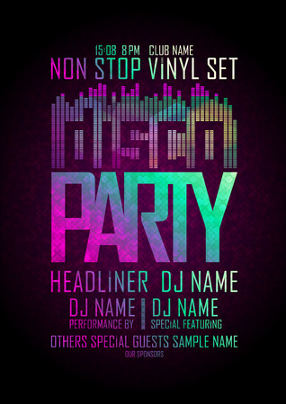 dj: Disco party non stop, design with place for text.