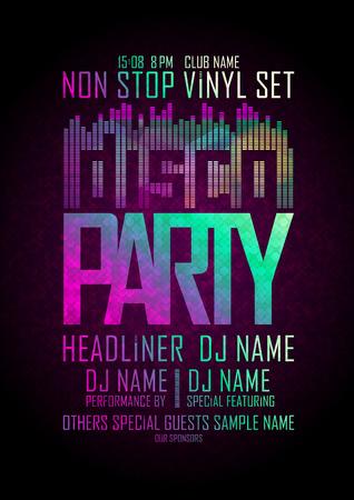 Disco party non-stop, ontwerp met plaats voor tekst. Stock Illustratie