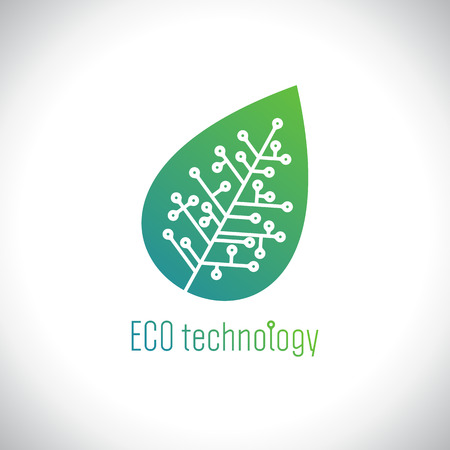 Eco technology logo concept with leaf of the tree with a chip. Çizim