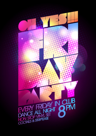 dj: Friday party poster design.