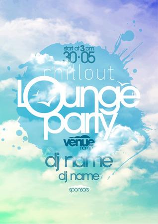party dj: Chillout cartel del partido salón con cielo nublado telón de fondo. Vectores
