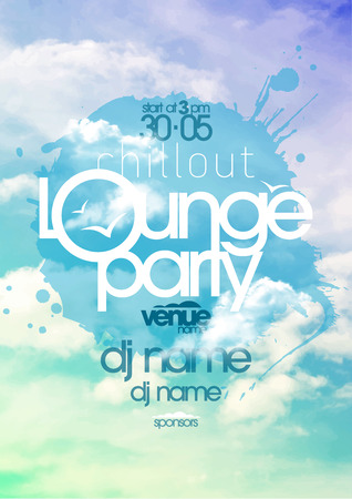 dj: Chillout lounge party poster with cloudy sky backdrop. Illustration