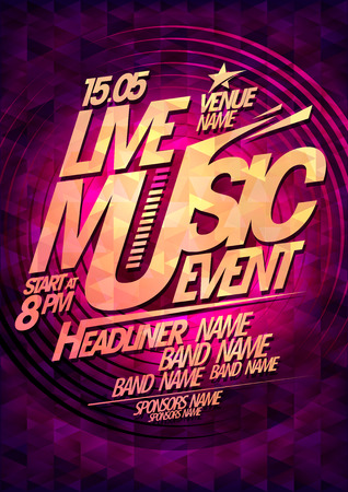 live music: Live music event, party design with place for text.