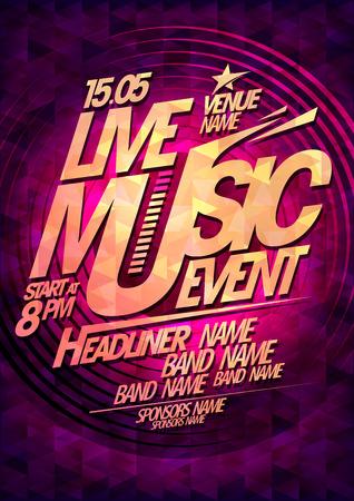 Live muziek gebeurtenis, partij ontwerp met plaats voor tekst. Stock Illustratie