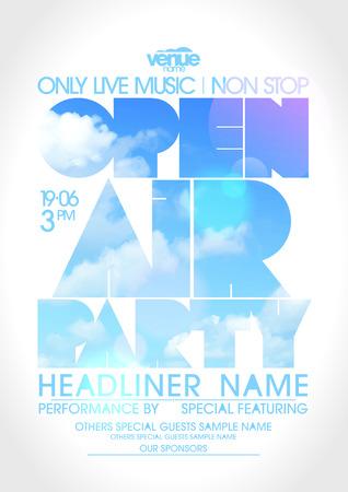 Open-Air-Party Plakat mit Text Silhouette gegen Himmel. Illustration
