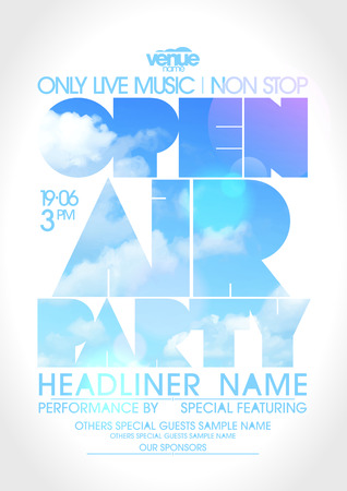 dj: Open air party poster with text silhouette against sky.
