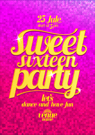 banner ad: Sweet sixteen party fashion pink poster with gold letters and sparkles.