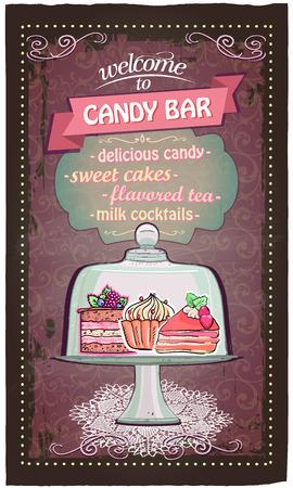 candy bar: Candy bar lista dei menu carino. Vettoriali