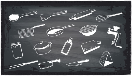 meat  grinder: Assorted kitchen utensils chalkboard design.