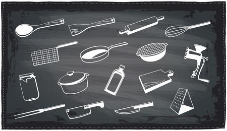 sieve: Assorted kitchen utensils chalkboard design.