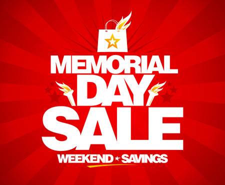 sale tags: Memorial day sale, weekend savings poster.