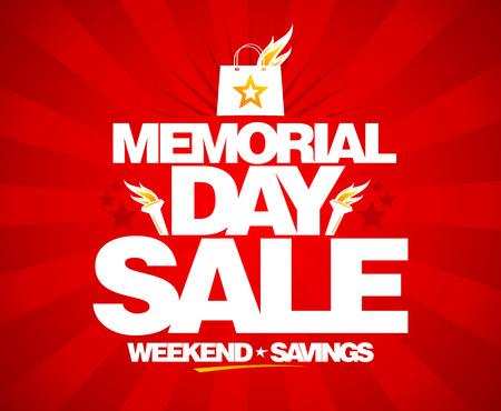 Memorial Day verkoop, weekend besparingen poster.