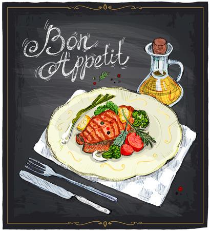 steak plate: Filete de salm�n en un plato con lim�n, tomates cherry y el br�coli con salsa, dibujado a mano ilustraci�n de una pizarra. Buen provecho.