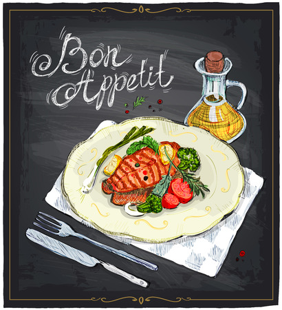 fish steak: Grilled salmon steak on a plate with lime, cherry tomatoes and broccoli served with sauce, hand drawn illustration on a chalkboard. Bon appetit.