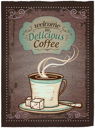 おいしいコーヒー ビンテージ メニュー記号へようこそ。  イラスト・ベクター素材