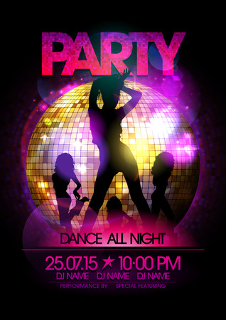 danza moderna: Danza cartel del partido con go-go dancers niñas silueta y bola de discoteca. Vectores