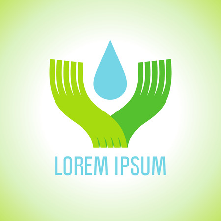 recycle logo: Flat art logo with hands holding drop of water, ecology concept.