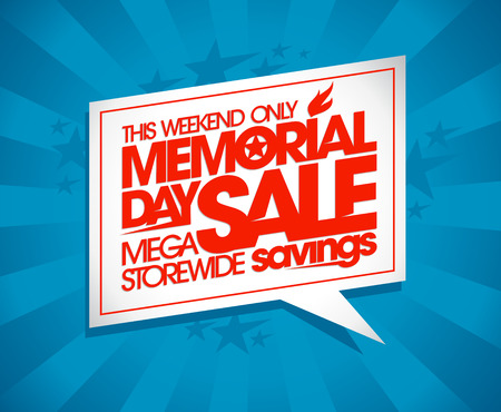 off day: Memorial day sale design with speech bubble and rays. Illustration