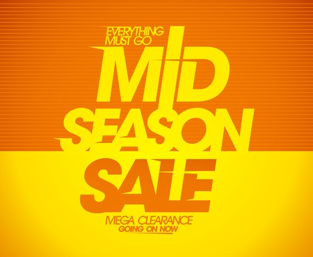 go to store: Mega mid season clearance sale coupon design.