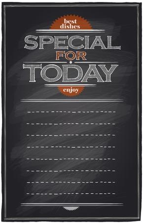 特別な今日の黒板メニュー リストのテキスト。  イラスト・ベクター素材