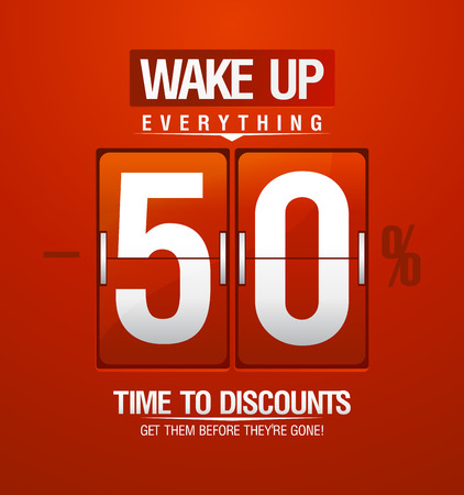 off: Wake up -50% sale design for coupon in shape of analog flip clock.