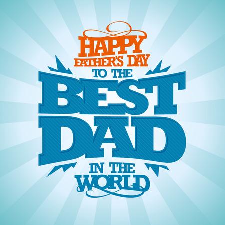 familias felices: Tipográfico Vintage Tarjeta del día de padre feliz.