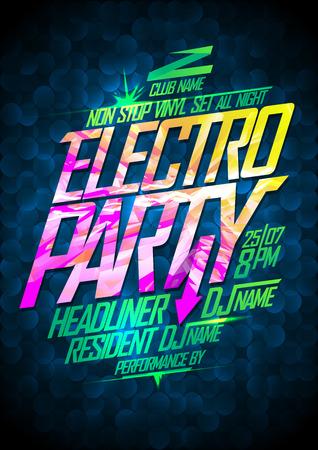 비 정지 전기 파티 디자인.