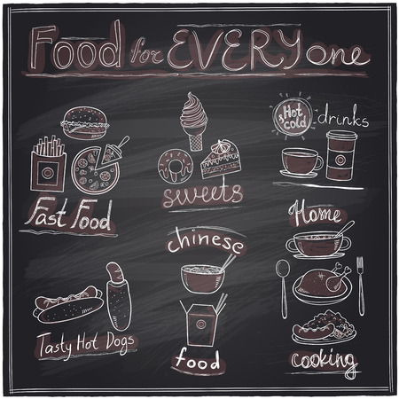 fried noodles: Food for every one, hand drawn assorted food and drinks graphic symbols chalkboard design.