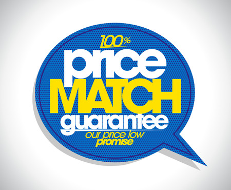 100% price match guarantee speech bubble design.