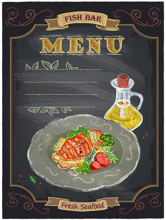 grilled salmon: Fish bar menu sign with grilled salmon steak on a plate chalkboard design. Illustration