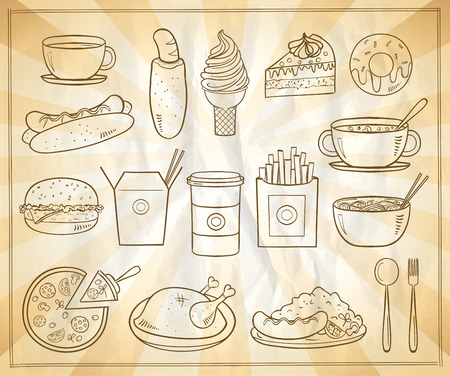 thai noodle: Assorted food and drinks graphic symbols set, vintage style