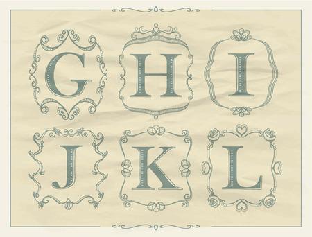 l background: Vintage calligraphic letters in monogram retro frames, alphabet icon set - G, H, I, J, K, L