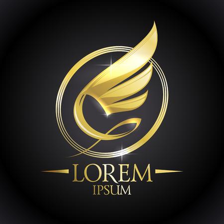 Ala brillante de oro en el icono ovalada contra el fondo negro.