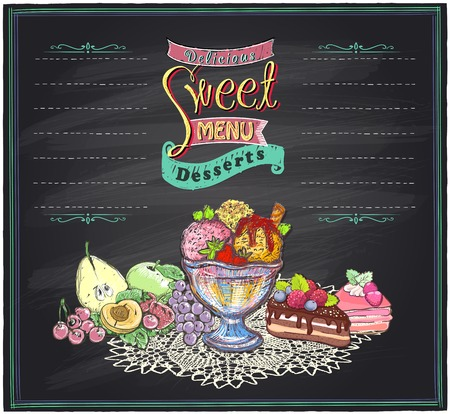 a dessert: Delicious sweet desserts chalkboard menu list. Fruits, ice cream and cakes hand drawn illustration. Stock Photo