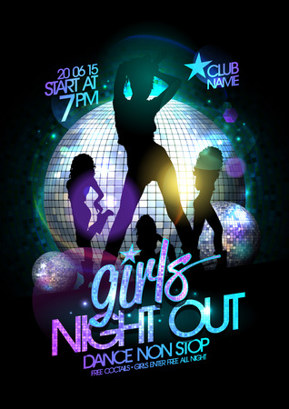 disco symbol: Girls night out party poster with three dancing go-go girls silhouette and disco balls.