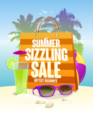 Hottest summer sizzling sale design with shopping bag on a beach backdrop with palms, cocktail and sun glasses
