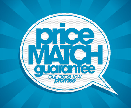 pricetag: Guarantee price match speech bubble banner. Illustration