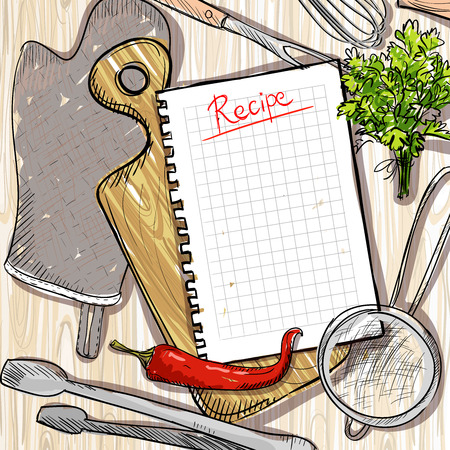 kitchen utensil: Cutting board and kitchen utensil with empty recipe list on a wooden table backdrop  Illustration