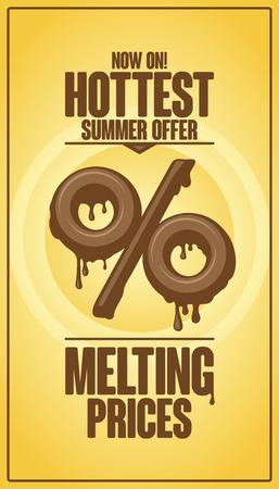 Heetste zomer aanbod, het smelten van de prijzen vector design